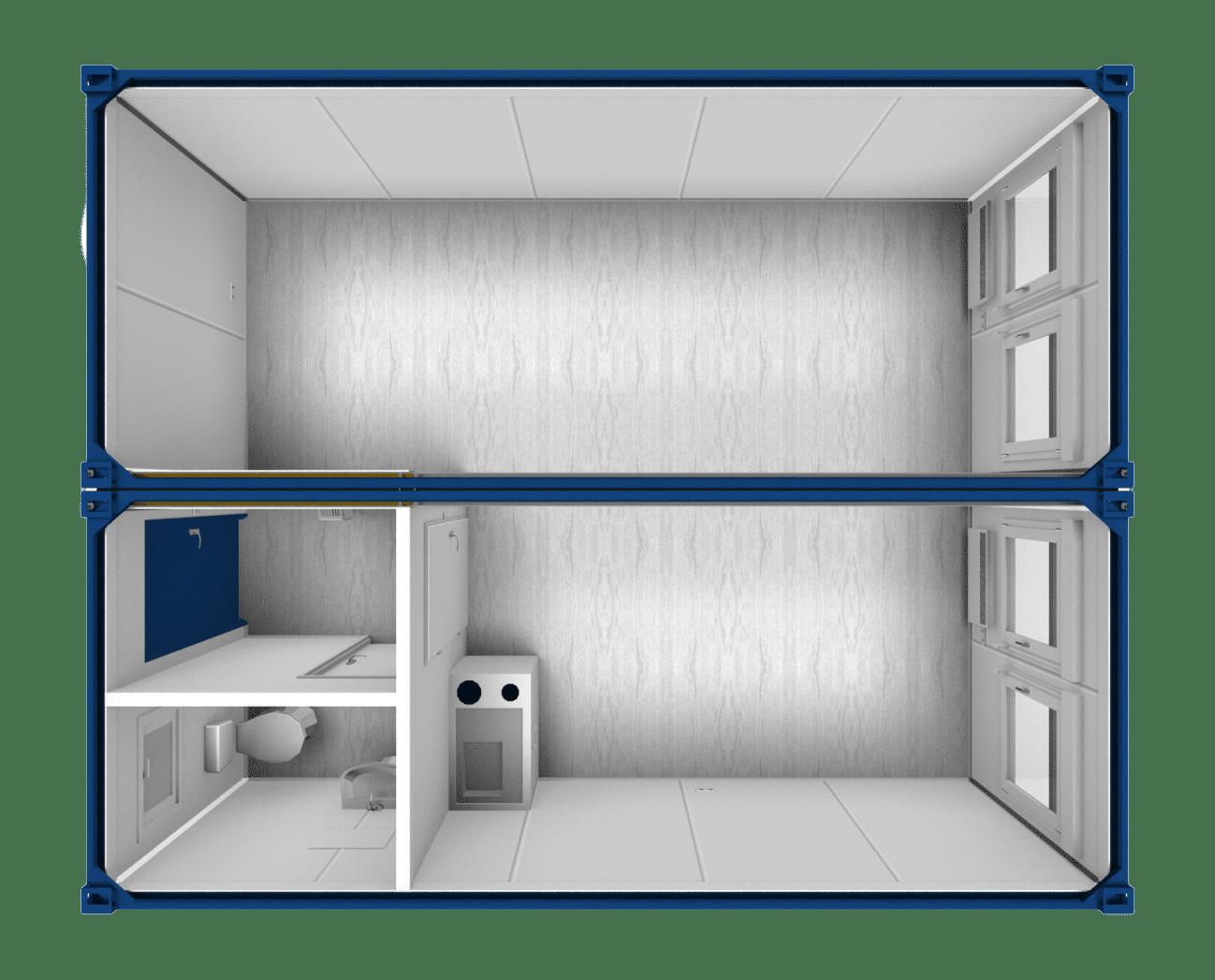 20ft Accommodatie container - tweevoudig geschakeld