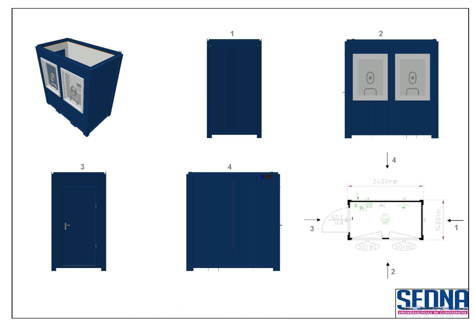 8ft kassa container
